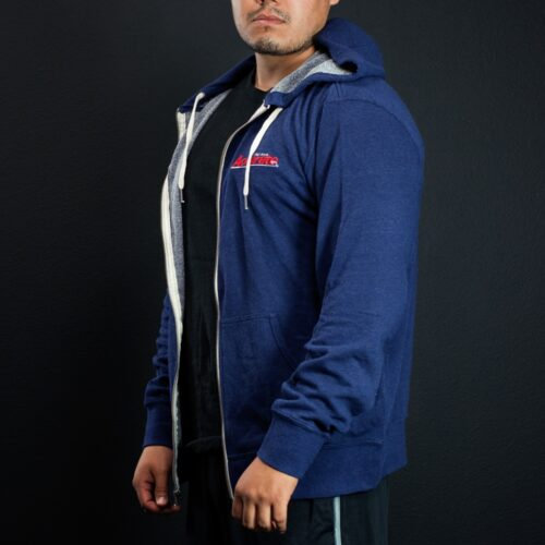 Accurate Embroidered Zip Up Hooded Sweatshirt - Blue
