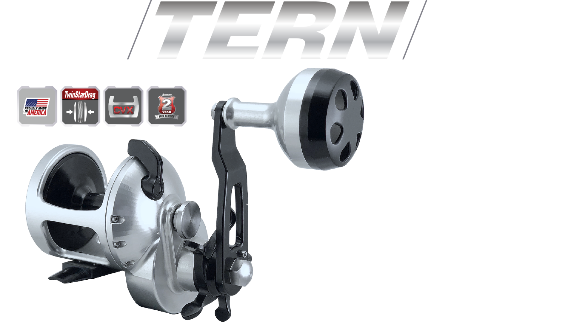 · First star drag reel to ever have a TwinDrag · Sleeved Spool for extreme castability · CVX design · Stainless Steel Anti-Reverse Bearing · Made from 6061-T6 aircraft grade aluminum · 17-4 Heat treated steel gears and gear shaft · Power Knob · Made in the USA
